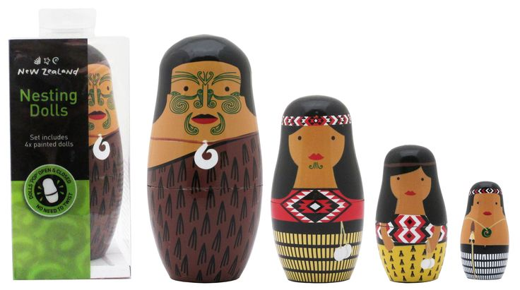 Māori whānau nesting dolls  Set of 4 painted wooden family figures that fit inside each other like traditional Russian dolls. Good for storytelling, decoration and learning concepts such as seriation. Pāpa measures 13cm high and the youngest tama measures approx 5.5cm. Dolls come inside a clear plastic box. Recommended for children aged 3+ years.