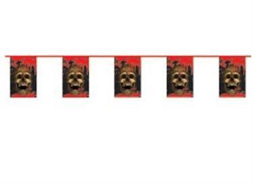 Pirat guirlande med dødningehoveder. Flot pirat festpynt til pirat festen.