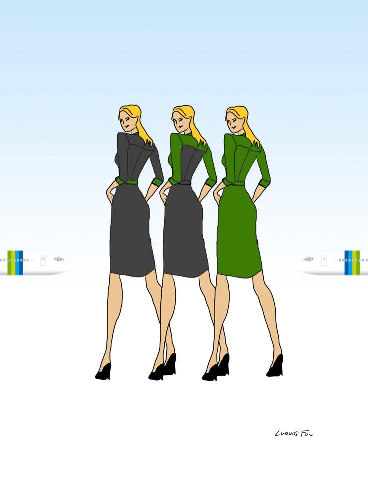 Design concept for transavia.com's upcoming new cabin crew uniforms. Three variations on ladies' dress.