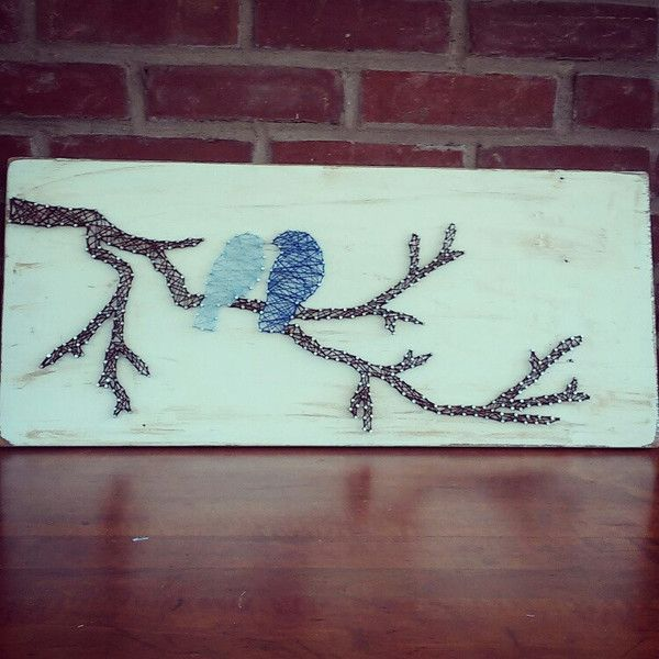 Love Birds on a Branch String Art 24 in long, by 12 in tall. 1/2 in thick reclaimed wood.  This is made to order, please allow 2 weeks for creating and shipping