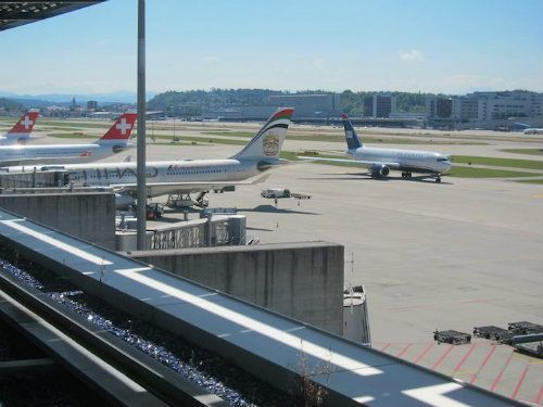 View the planes and Alps from the Swiss Air, Zurich First & Business Class Lounge Terrace.