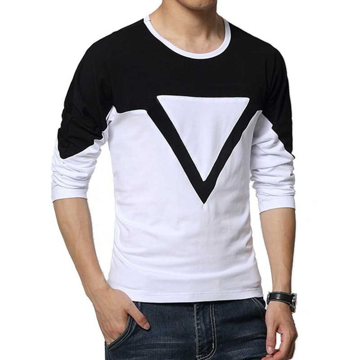 Camiseta Casual Geométrica Masculina Manga Longa
