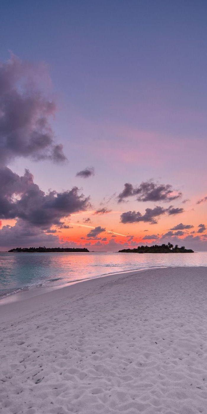 Sunset Sky White Beach Sand Orange And Purple Sky Girly Wallpapers Sunset Wallpaper Sky Aesthetic Beach Wallpaper