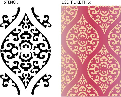 Large Moroccan wall covering damask stencil in 1overlay. Design from Leslie Nesbitt with Rhythmic Walls.