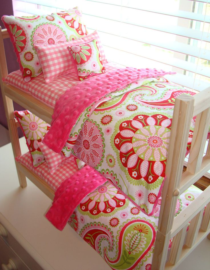 cute American Girl doll bedding Love these colors I wish I had them for my dolls but I have a doll loft bed