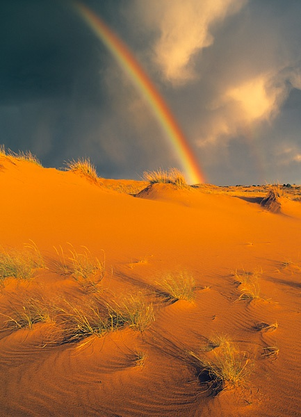 Rainbow over Sand Dunes in Douglas Provincial Park, Saskatchewan, Canada