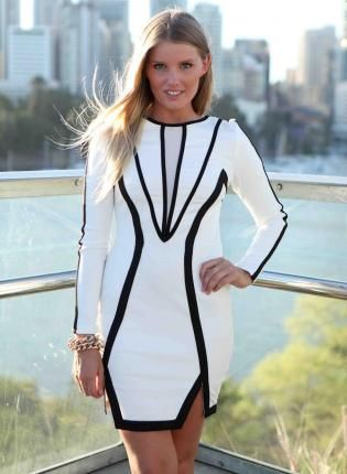 long sleeve black and white striped bodycon dress « Bella Forte ...
