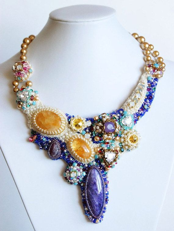 Embroidered Necklace Summer bouquetEmbroidered от InviolaJewerly
