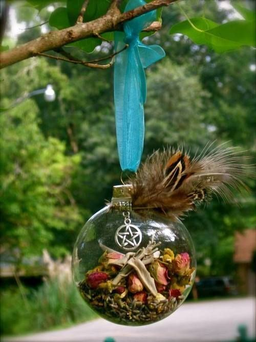 how to Make a Witch's Ball using a clear glass ornament from the craft store...decorate it accordingly. Fill it with herbs and others symbols of your intent...hang in a window or even hang in your yule tree, or other place to be imbued with the energies.