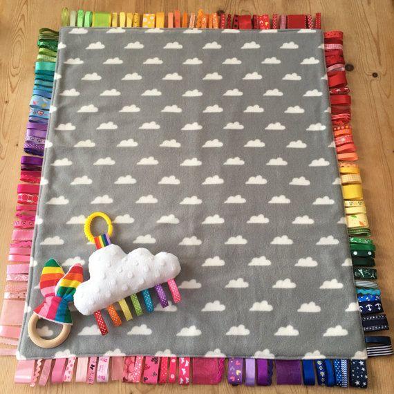 Amazing Rainbow Baby Gift Set!! ❤️ Bea'spoke Rainbow Baby Crib Set Taggy Blanket Grey Cloud Nursery by BeaspokeEtsy