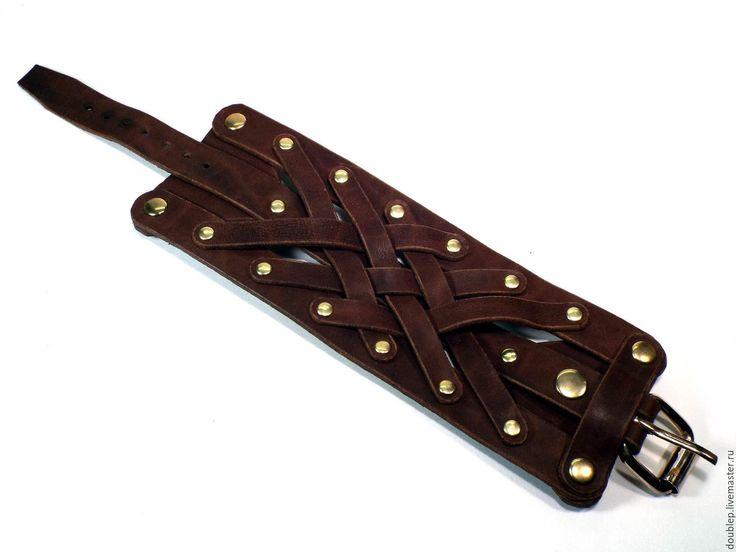 Купить Кожаный браслет/наруч №12 - кожа натуральная, кожа, аксессуары, Аксессуары handmade, браслет