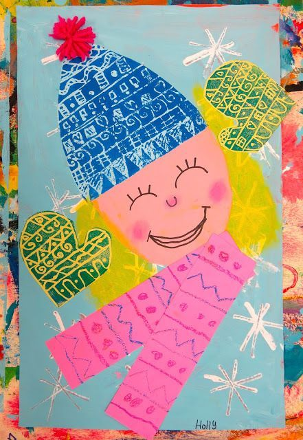 In the Art Room: Printed and Collaged Winter Self Portraits by Second Grade | Cassie Stephens | Bloglovin'