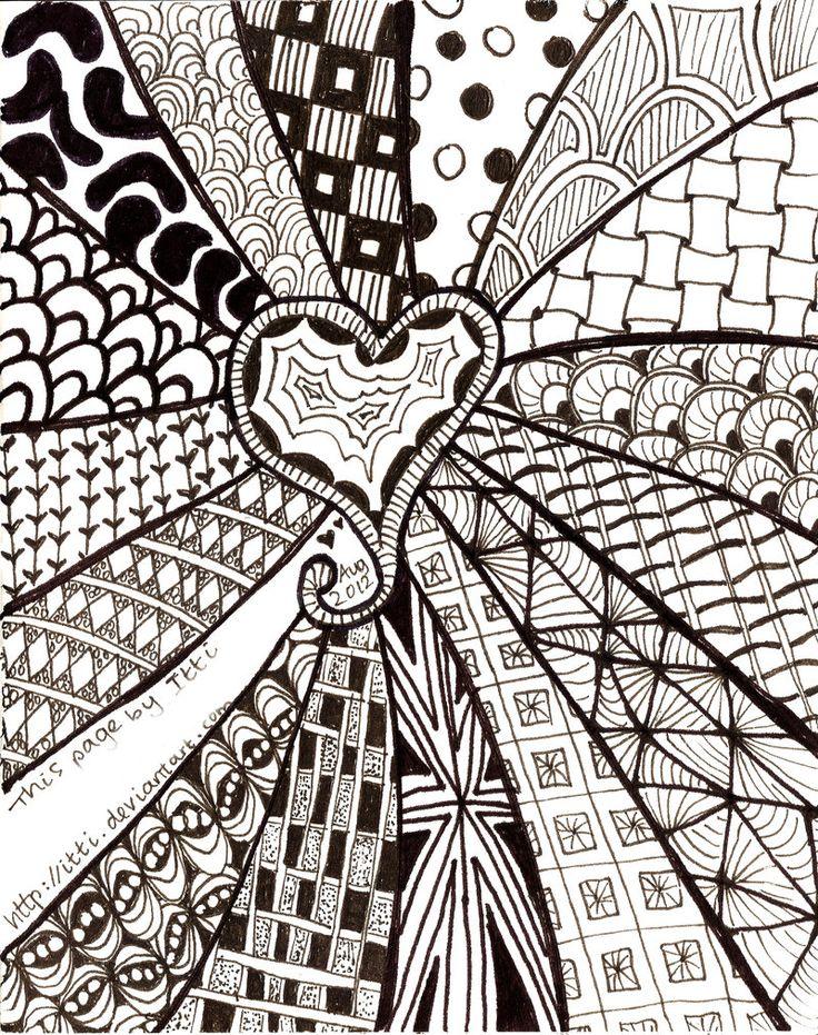 Zentangle heart by on deviantart - Doodle dessin ...