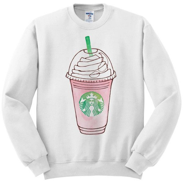 Frappuccino Pink Strawberries and Creme Starbucks Women's White... (£21) ❤ liked on Polyvore featuring tops, sweaters, shirts, pullovers, silver, women's clothing, pullover shirt, white crew neck sweater, white pullover sweater and white shirt