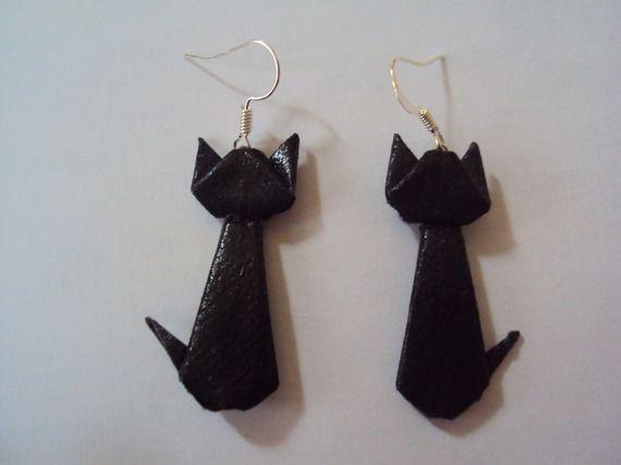 boucles d'oreille chat noir origami