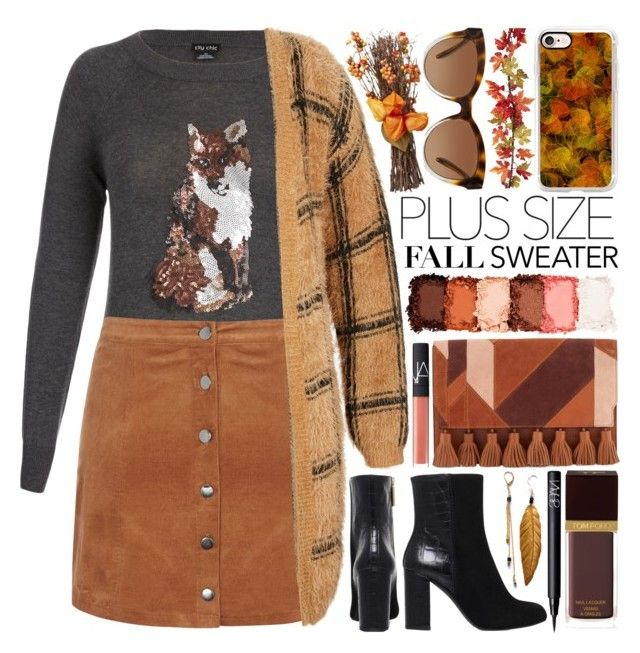 """""""Plus Size Fall Fashion Look"""" by gorgeautiful ❤ liked on Polyvore featuring NYX, Rebecca Minkoff, NARS Cosmetics, Kurt Geiger, Tom Ford, Michael Kors, Casetify, plussize and Fall2016"""