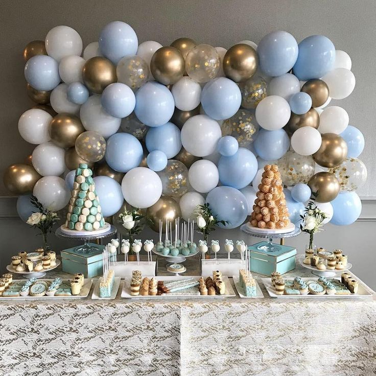 "Modern Balloon Decor on Instagram: ""A beautiful set-up for a sweet boy baptism"""