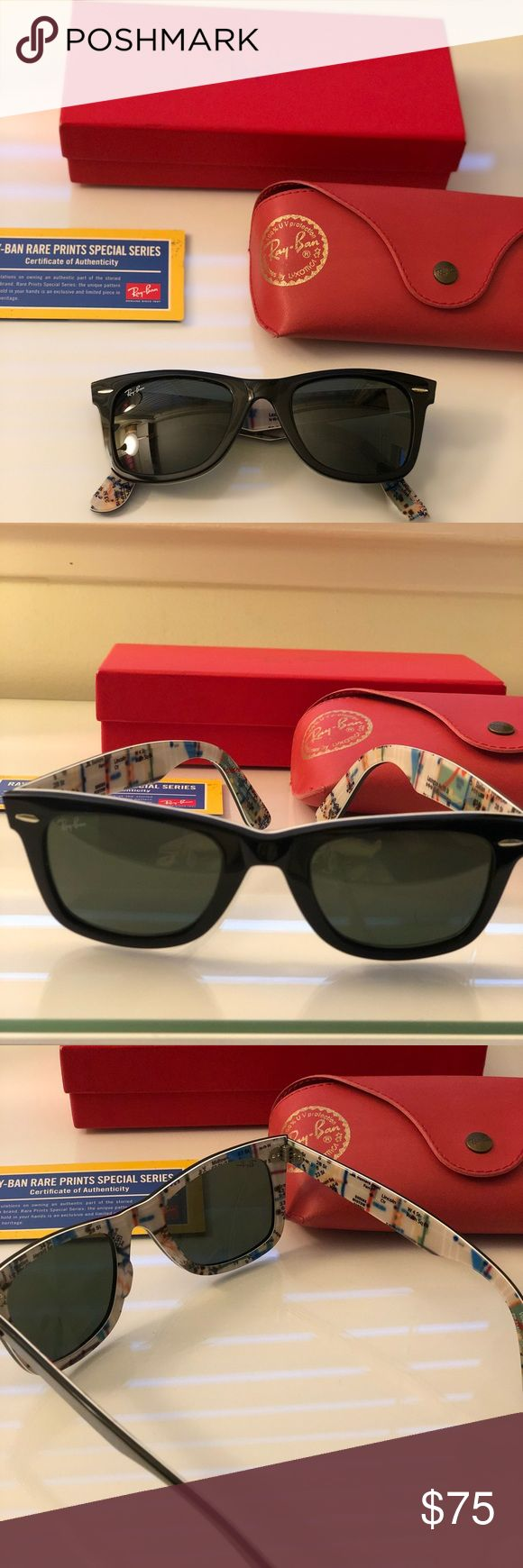 Ray Ban Original Wayfarer Special Series Ray Ban original Wayfarer Sunglasses, part of the rare prints special series. Exterior is classic black, interior is lined with print of the MTA subway map. Unique glasses in pristine condition.   Includes certificate of authenticity, case and comes in original collectors box.  Style is classic Wayfarer RB2140 #2 MTA Ray-Ban Accessories Sunglasses