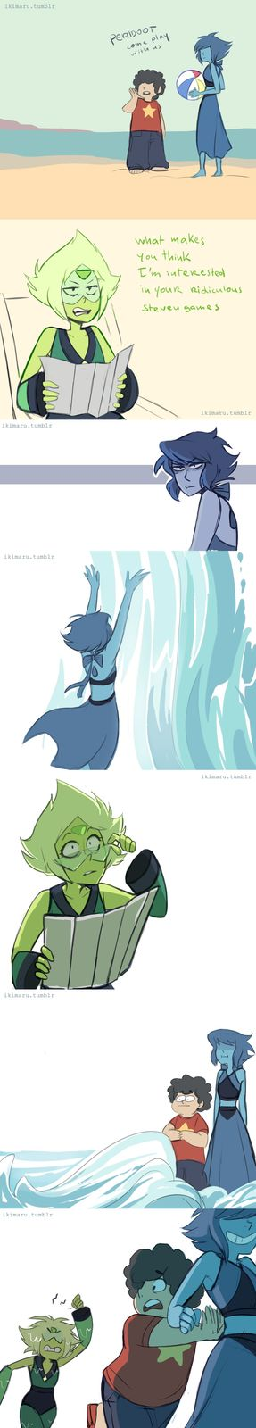someone suggested Peridot having fun at the beach but it somehow turned into this