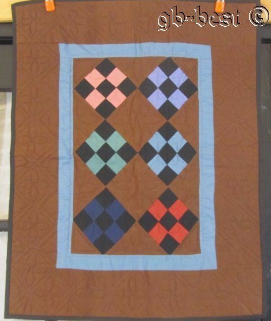 PA Amish Nine Patch on POINT Quilt Wall Brown Blue Lancaster County