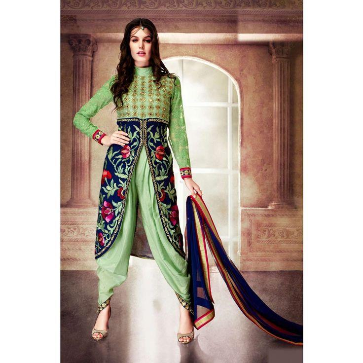 Green Georgette Party Wear #Patiyala Kameez With Dupatta-     $62.05