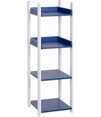 Lollipop 4 drawer Shelf, white 4 drawer shelf, kids 4 drawer shelf, 4 Drawer shelf unit, lollipop furniture, shelf unit, cork furniture, irish furniture, dublin furniture, Blue 4 drawer shelf