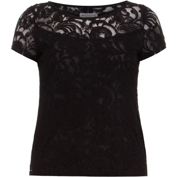 Alice & You Petite Black Lace Tee ($35) ❤ liked on Polyvore featuring tops, t-shirts, black, petite, short sleeve tops, petite tee, low top, short sleeve tee and lace tee