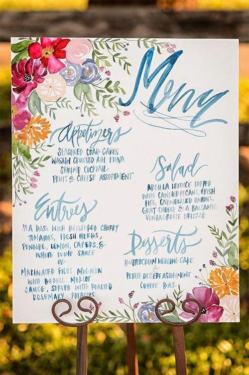wedding reception menu idea; photo: Naomi Chokr Photography
