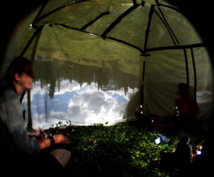 photograph showing inside of tent