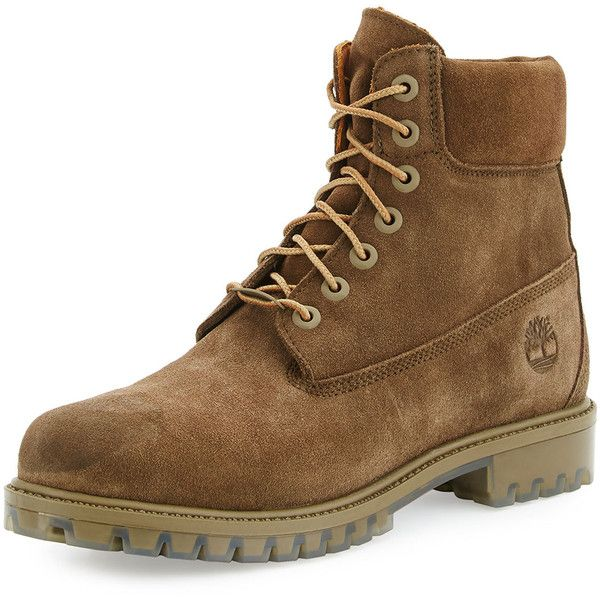 Timberland Autumn Leaf 6 Premium Waterproof Hiking Boot (290 BRL) ❤ liked on Polyvore featuring men's fashion, men's shoes, men's boots, olive, mens waterproof boots, mens waterproof shoes, mens water proof boots, timberland mens boots and mens round toe shoes