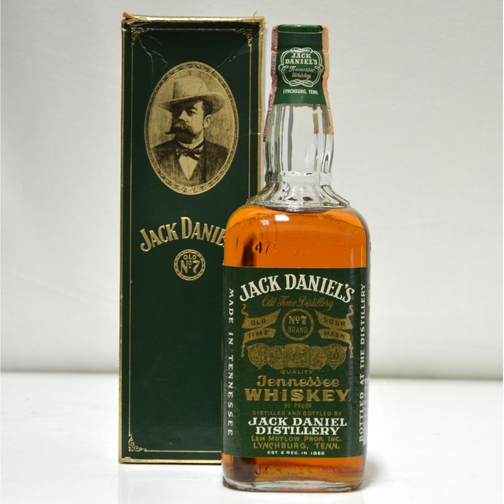 An old style Green Label Jack Daniels Bottle 90 proof, 75cl. Originally for the Italian Market