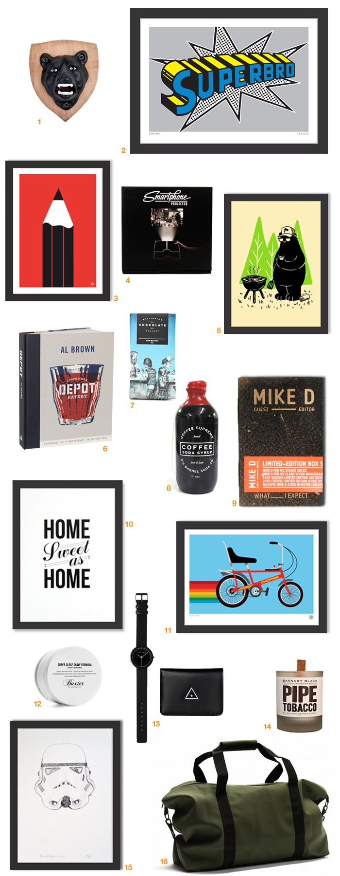 On our blog - Gift Guides | Awesome gifts for Guys: http://nzartprints.co.nz/2014/11/ho-ho-ho-gifts-for-guys/