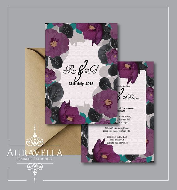 Floral wedding invitation suite. wedding Invitation by Auravella