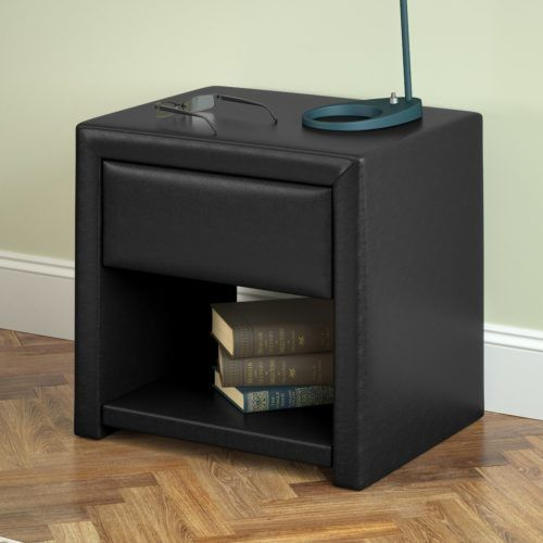 Modern Narrow Bedside Table San Antonio Leather Upholstery in Black, CorLiving