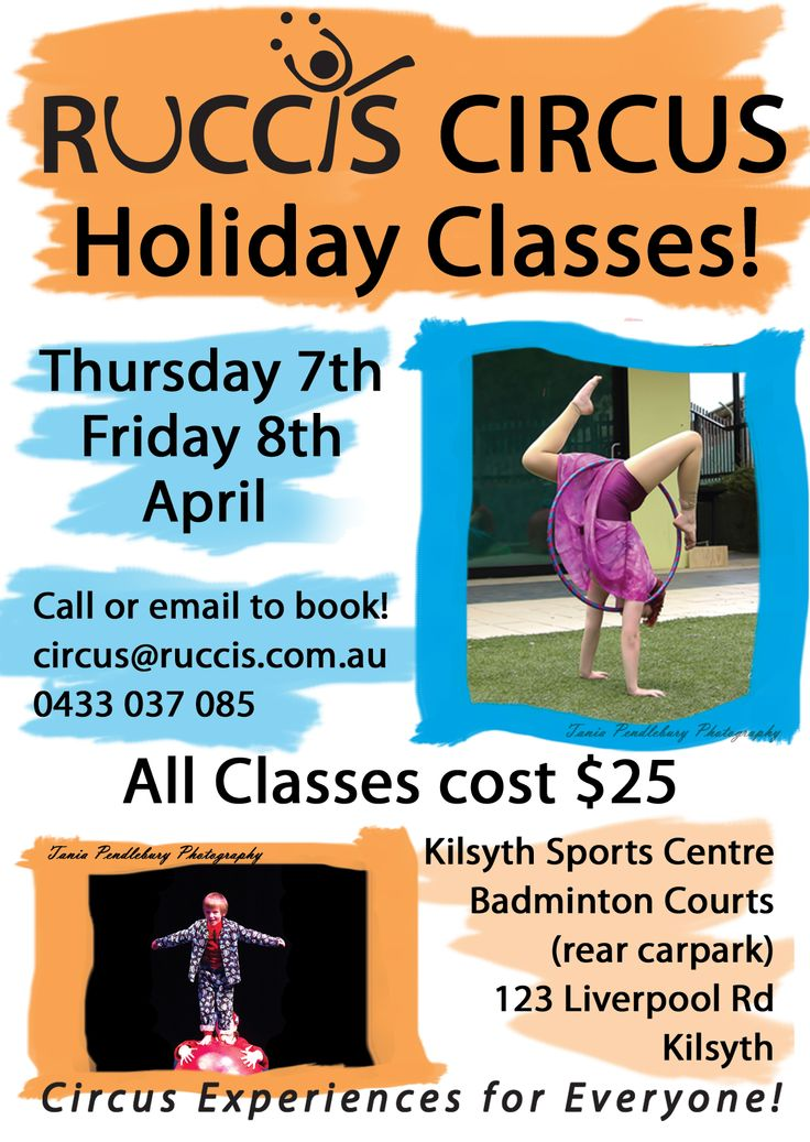 Holiday Programme | Ruccis Photos by Tania Pendlebury Photography RUCCIS Holiday Circus Classes! Imagine you and a friend learning to do awesome tricks together on aerial silks or trapeze... Check out the RUCCIS Holiday Program at the Kilsyth Sports Centre in Melbourne. http://ruccis.com.au/classes/holiday-program/ for more information.