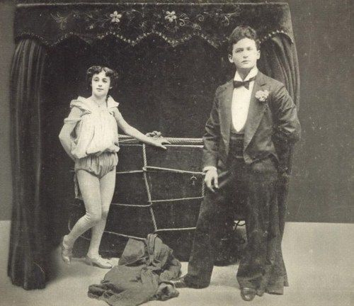 "Harry Houdini (born Erik Weisz) with wife, Wilhelmina Beatrice ""Bess"" Rahner (1894-1926; his death)"