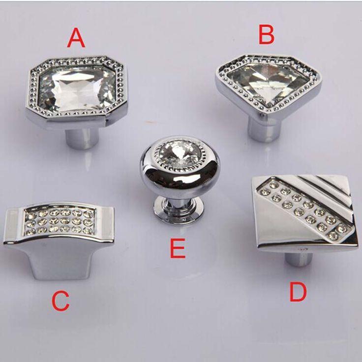 modern fashion glass crystal kitchen cabinet diamond drawer knob silver chrome dresser cupboard furniture door knobs