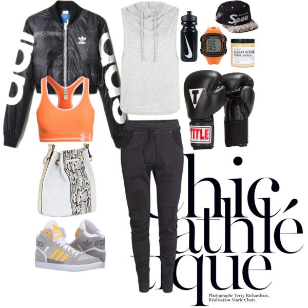 A fashion look from November 2015 featuring H&M activewear pants, Under Armour sports bras and adidas Originals shoes. Browse and shop related looks.