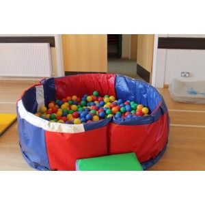 Isaac has a square ball pit with 400 balls that we could bring along