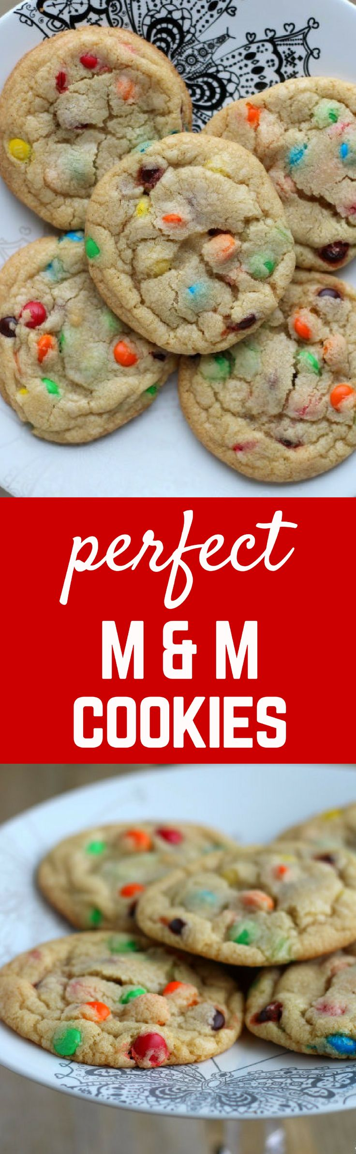 These M&M cookies are perfect! Chewy centers, crispy edges, simple to make and even easier to eat. You'll love this easy and delicious cookie recipe.: