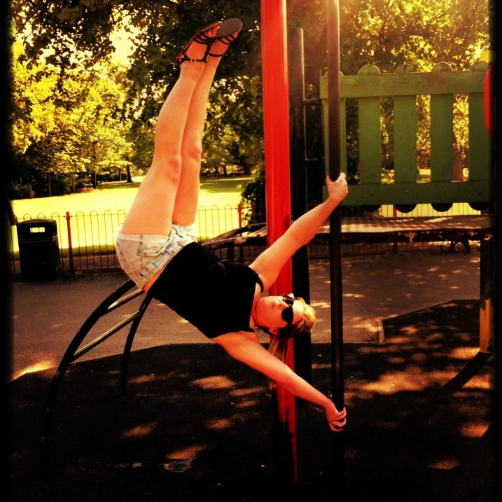 Pole dancing  Pole trick  Pole fitness  Hand spring hanging around In the park