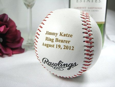 Personalized Engraved Basesball Rawlings Ring Bearer Groomsman Usher Wedding Party Gift Keepsake. $15.99, via Etsy.