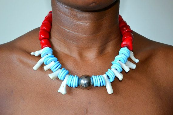 Red white coral necklace natural  moroccan silver dome by FanmMon