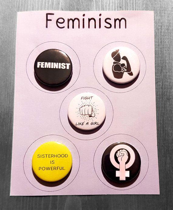5 FÉMINISME Badge ensemble féministe, lutte comme une fille, nous pouvons le faire, fraternité est puissante, symbole.   Droits de la femme protestent Broche 25mm x 5