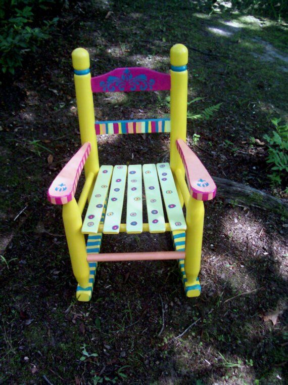Childrens Rocking Chair Hand Painted Yellow and by vivyscloset, $130.00