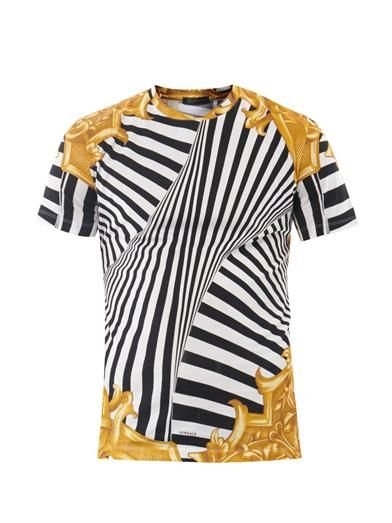 Versace mens' Barocco cotton T-shirt with classic Versace print in zebra and baroque-inspired motifs. View 1. via matchesfashion.com