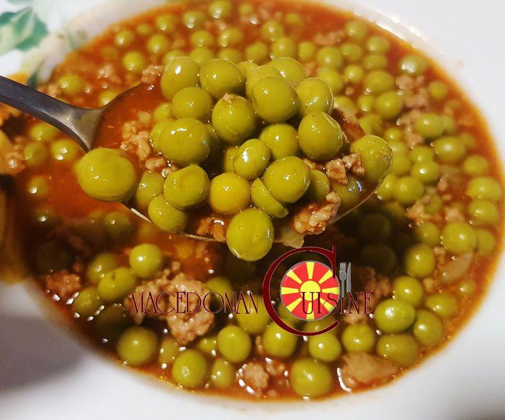 grean peas stew, grean peas, minced meat, грашок со мелено месо, macedonian food, recipe