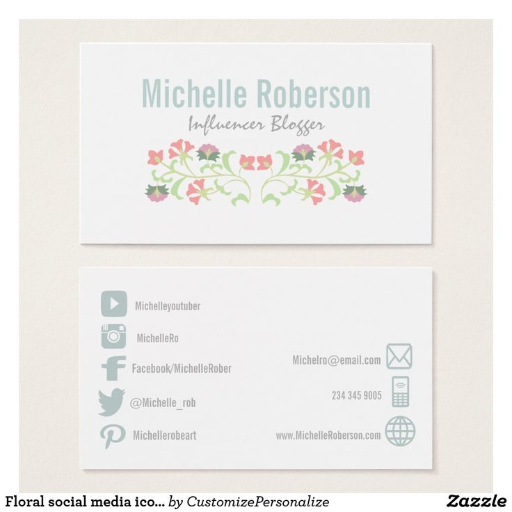 88 best business cards social media images on pinterest social floral social media icons business card colourmoves
