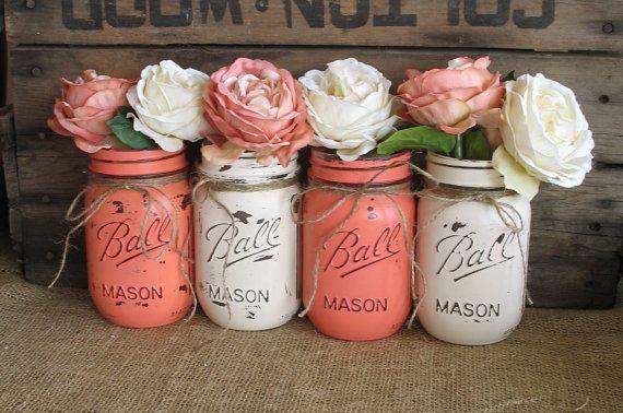 Mason Jars, Ball jars, Painted Mason Jars, Flower Vases, Rustic Wedding Centerpieces, Coral And Creme Mason Jars on Etsy, $32.00