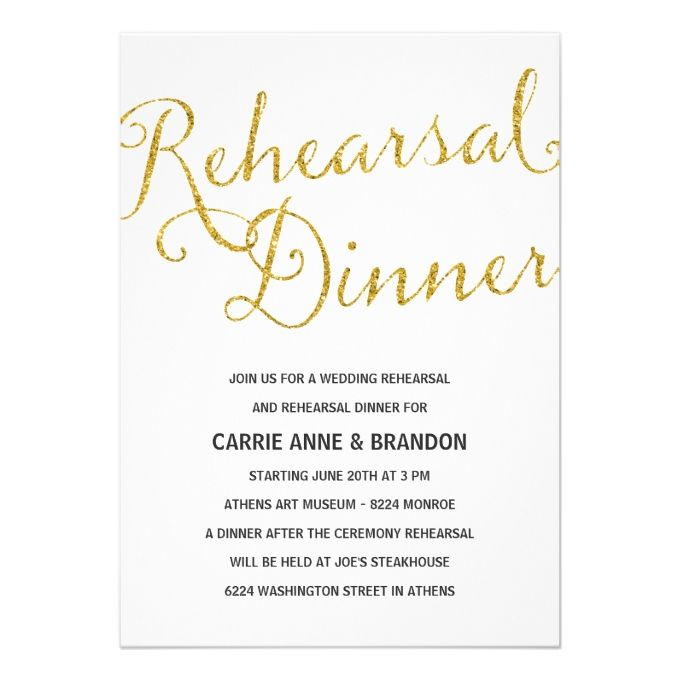 2612 best rehearsal dinner invitations images on pinterest chic shimmer faux gold foil rehearsal dinner card junglespirit Image collections